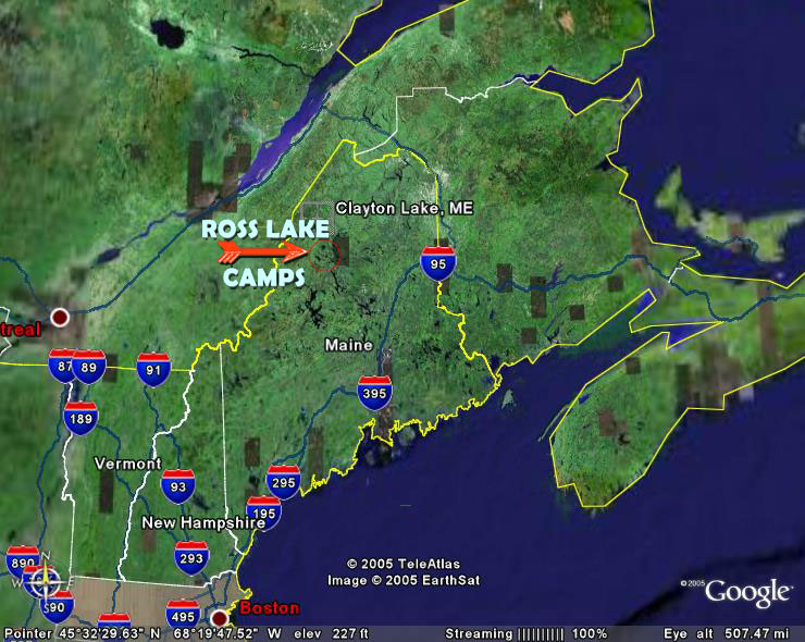 Maine Map Ross Lake Camps Maine